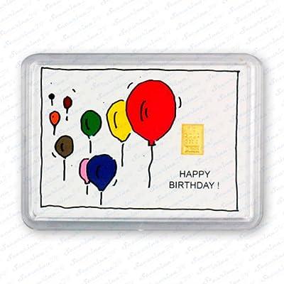 "Goldbarren 1g 1 Gramm Motivbox "" Geburtstag (Luftballons) "" Gold Barren"