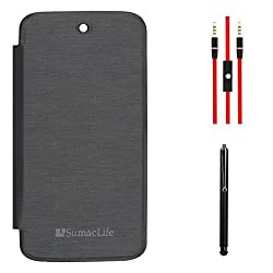 SumacLife PU Leather Flip Cover Case for Micromax Canvas A1 Android One (Black) + AUX Cable + Stylus
