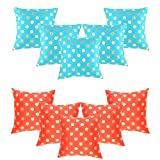 HOMEC Trandy Cushion Cover Combo - Set Of 5+5 In Blue/Red (40X40 CM)