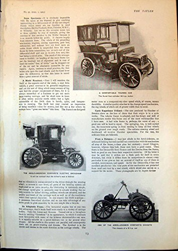 Antique Print Of Motor Cars Hurst Arrol Johnson 12 Hp Car Electric Brougham 1903