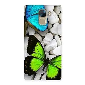 Ajay Enterprises Elite Butterflies Green Blue Back Case Cover for Huawei Honor 7