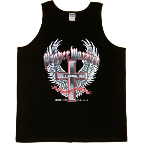 MENS TANK TOP : SPORTS GREY - MEDIUM - Prayer Warrior Jesus Christ Holy Divine Son - Christian Cross with Wings Biker