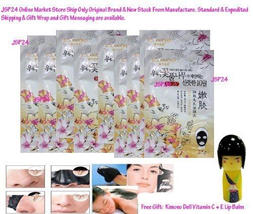 10 Packs Of Rolanjona Black Gold Caviar Whitening Facial Mask 250G. (Remove Blackhead +Whitening Plus +Reduce Ance Scar.) Free Gift: Kimono Doll Vitamin C + E Lip Balm
