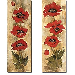 Strand of Poppies I & II by Liz Jardine 2-pc Premium Gallery-Wrapped Canvas Giclee Art Set (Ready-to-Hang)