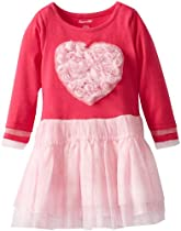 Nannette Girls 2-6X 1 Piece Large Heart Dress, Pink, 3T