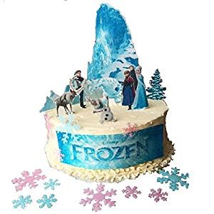 Frozen Cake Decor Uk : Frozen Scene Edible Wafer Paper Cake Toppers with 50 mixed colour edible wafer paper snowflakes ...