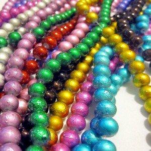 Pretty Pebbles Beads - 100 Drawbench Glass Beads 8mm metallic colour mix