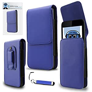 iTALKonline Motorola XT535 Defy Blue PREMIUM PU Leather Vertical Executive Side Pouch Case Cover Holster with Belt Loop Clip and Magnetic Closure and Re-Tractable Captive Touch Tip Stylus Pen with Rubber Tip