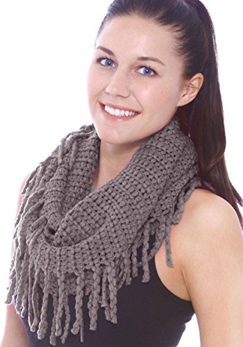 Unisex Warm Infinity Circle Scarf Cable Knit Cowl Neck Long Loop Scarf Shawl, Dark grey (Cowl Scarf compare prices)