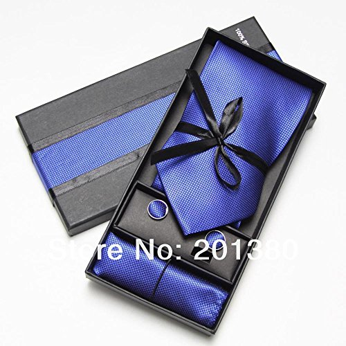 Men Ties Set Cufflinks Hanky Pocket Square Men's Tie in Box Necktie Packaging (Brooks Brothers Pocket Square compare prices)