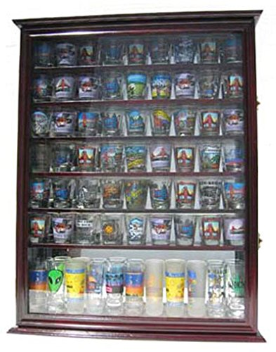 Large 72 Shot Glass Display Case Cabinet Rack Holder-Glass Door, Mirror Back - Cherry Finish (Jack Daniels Display Case compare prices)