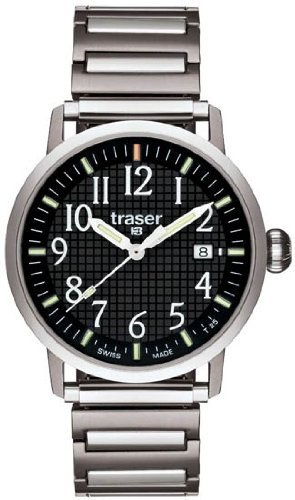 Traser Classic Basic Watch with Elastic Steel Strap - Black