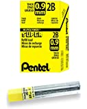 Pentel Super Hi-Polymer Lead Refill, 0.9mm Thick, 2B, 180 Pieces of Lead (50-9-2B)