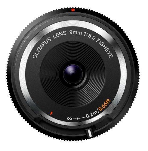 Olympus Body Cap Lens Obiettivo 9mm 1:8.0, Fisheye, Ultrasottile, Micro Quattro Terzi, per Fotocamere OM-D e PEN, Nero