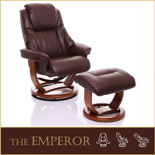 The Emperor - Bonded Leather Recliner Swivel Chair  &  Matching Footstool in Nut Brown