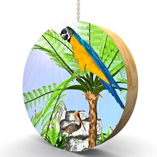 Tropical Parrot Hardwood Oak Fan / Light Pull front-988534