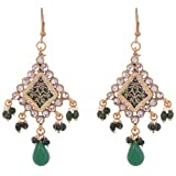 Molcha Thewa Dangle&Drop Earrings for women In Gold And Green Color _MOL-10028