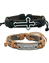 "ALPHA MAN ""Jesus Faith Cross In Silver Will Be Cherished By All"" Strap Faux Leather Bracelet Combo"