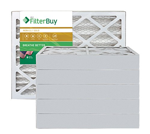 AFB Gold MERV 11 14x24x4 Pleated AC Furnace Air Filter. Pack of 6 Filters. 100% produced in the USA.