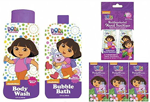 Berry / Cherry Dora The Explorer Bath Wash Up Kit (7 Piece)(Bubble Bath, Body Wash,1 Magic Washcloth (May Vary), Hand Sanitizer, Brush, Comb and Mirror, Pocket Tissues)