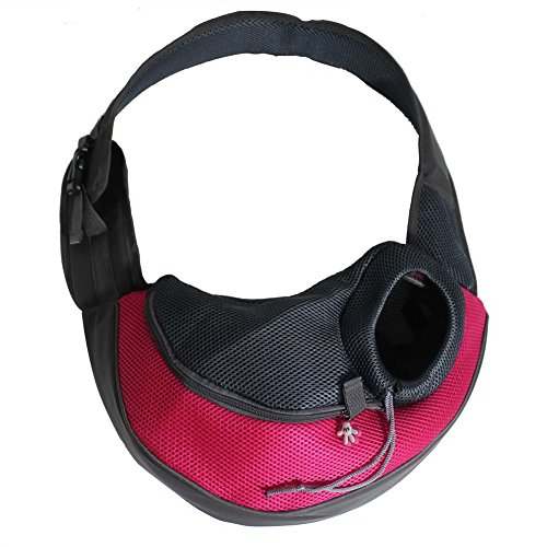OurWarm Fuchsia Ondoing Dog Carrier Portable Pet Dog Cat Carrier Travel Bag Outdoor Pet Shoulder Bag Small Size