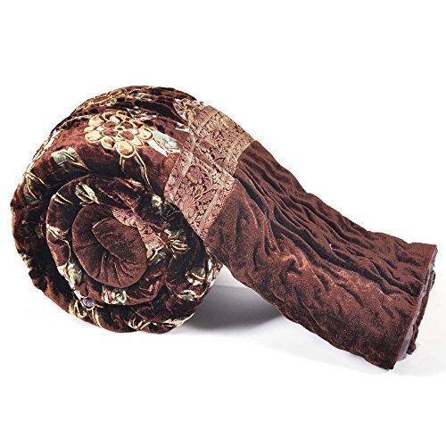 Diseño Floral de terciopelo Jaipuri Little India cama individual marrón