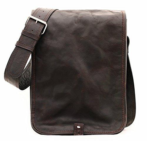 LE MESSAGER (S) marrone scuro, borsa pelle vintage, la borsa a spalla, borsa a tracolla, PAUL MARIUS, Vintage & Retro