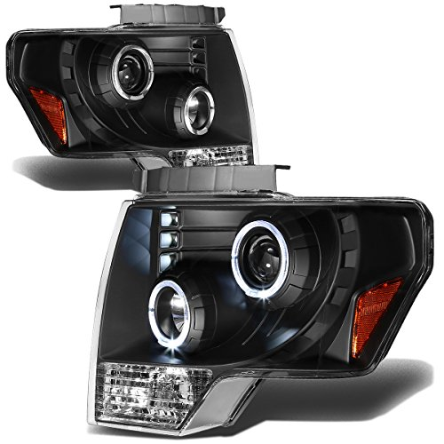 Ford F-150 Dual Angel Eyes Halo Projector Headlights With Amber Reflector Lighting Kit (Black Housing) (2011 Ford F150 Halo Headlights compare prices)