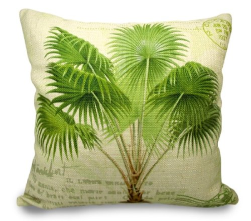 Fablegentxh3013 - European Style Linen Cushion Pillow Cover - Palm Plant Design On Both Sides front-612362