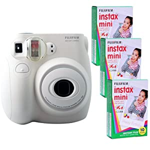 Fujifilm Instax Mini 7s Kit and 3 Fujifilm Instax Mini Film with 10 Exposures FU64-INM7WK30 (White)