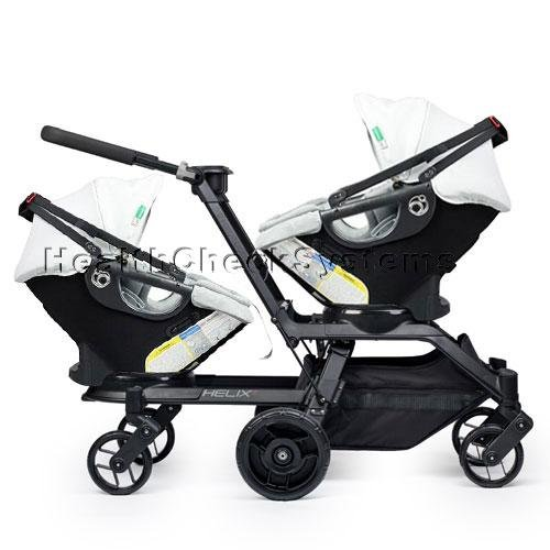 Orbit Baby Helix G2 Double Stroller with 2 Infant Car Seats in Black Slate