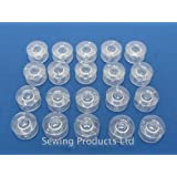 20 Domestic Sewing Machine Bobbins WILL FIT, BROTHER,TOYOTA, JANOME CLEAR