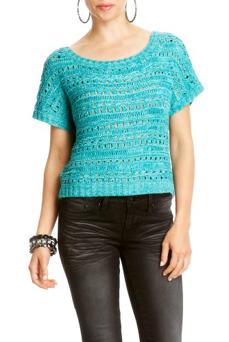 Bebe 2b Short Sleeve Tape Yarn Sweater ISLAND TEAL Size Small