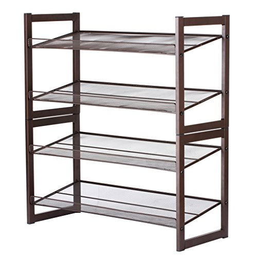 Floureon 4-Tier Metal Mesh Utility Shoe Rack Storage Organizer, 28.9 × 12 × 32.3 inch, Bronze (Utility Shoe Rack compare prices)