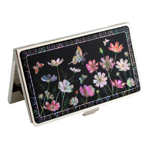 Mother of Pearl Cosmos Flower Design Black Metal Business Credit Name Id Card Holder Case Stainless Steel Engraved Slim Purse Pocket Cash Money Wallet