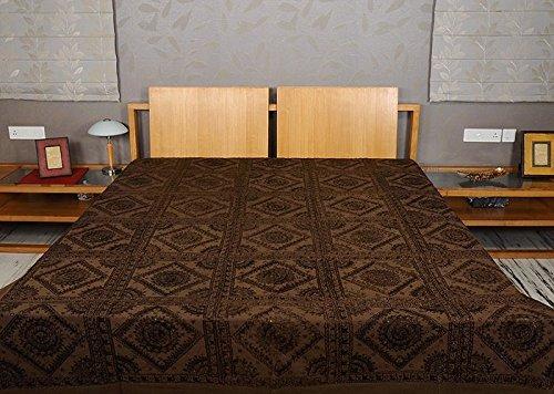 Imagen 2 de Tamaño de rosca doble bordado y trabajo Mirror Brown Colcha de algodón de tamaño 86 x 102 pulgadas