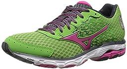 Mizuno Women\'s Wave Inspire 11 Running Shoe,Grass Green Fuchsia Purple,7.5 B US