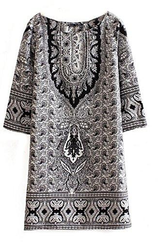 2014 Uneven / Vintage Flower Print Summer Dresses Bohemian Chiffon Dress (Us6=M)