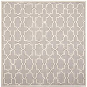 Safavieh Dhurrie Collection DHU549G-8SQ Handmade Wool Square Area Rug, 8-Feet, Grey/Ivory