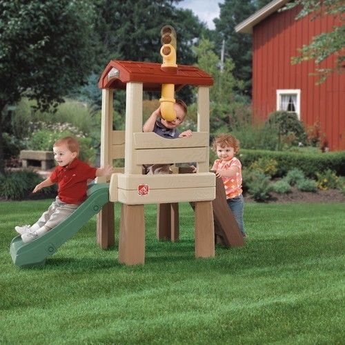 NEW Large Durable Slide Shingle-Styled Roof 19'' High Elevated Lookout Treehouse