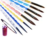 La Demoiselle 5 x 2 Ways Spiral Tool Sable Acrylic Nail Art Brushes Pen Cuticle Pusher And 3 x 2-Way Tiny Drawing Brushes Plus Bonus Mini Bottle Decoration And Nail Tape