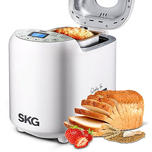 New SKG Automatic 2-LB Bread Maker Beginner Friendly - Programmable Breadmaker (19 Programs, 3 Loaf ...