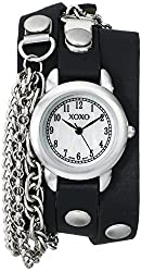 XOXO Women's XO5621 Double-Wrap Watch With Black Faux-Leather Band and Chain Accents