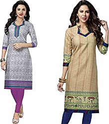 SDM Women's Kurti Printed Cotton Dress Material Unstitched Combo of 2 (P114-119, Unstitched)