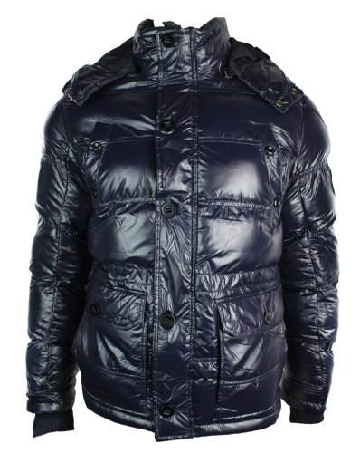 Mens Warm Winter Removable Hooded Down Shiny Navy Puffer Jacket Padded