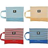 Set of 4 Colorful Stripe A4 Oxford Cloth Zipper File PocketsFolders1299