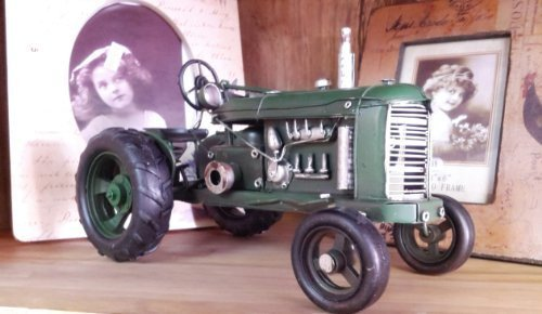 Vintage Style Green Metal Tractor - Collectable - Detailed Freestanding - Like John Deere