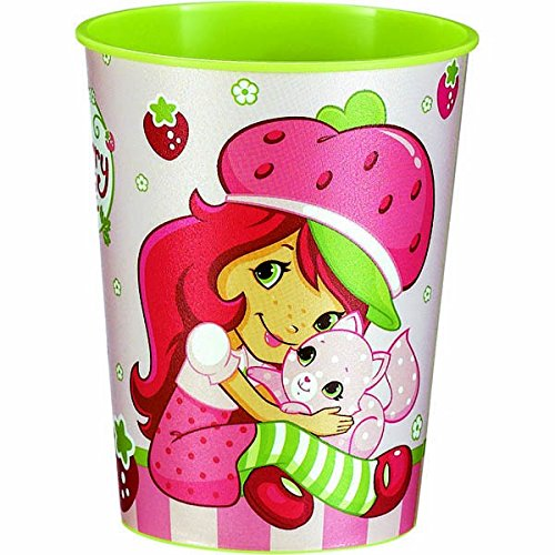 Amscan Pretty Strawberry Shortcake Birthday Party Cup (1 Piece), Pink/Green, 16 oz