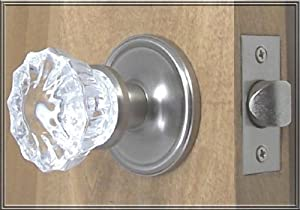 Crystal & Brushed Nickel Premium Passage Door Knob Set. A very special purchase of the Finest Crystal Glass Passage Door set, with all the hardware needed to install on interior or exterior passage doors.