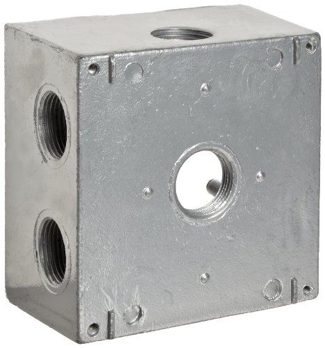 "Morris Products 36410 Weatherproof Box, Two Gang, Deep 37 Cubic Inch Capacity, 7 Outlet Holes, Gray, 4-1/2"" Length, 4-1/2"" Width, 2-5/8"" Depth, 3/4"" Outlet Hole Diameter, 2 Closure Plugs"